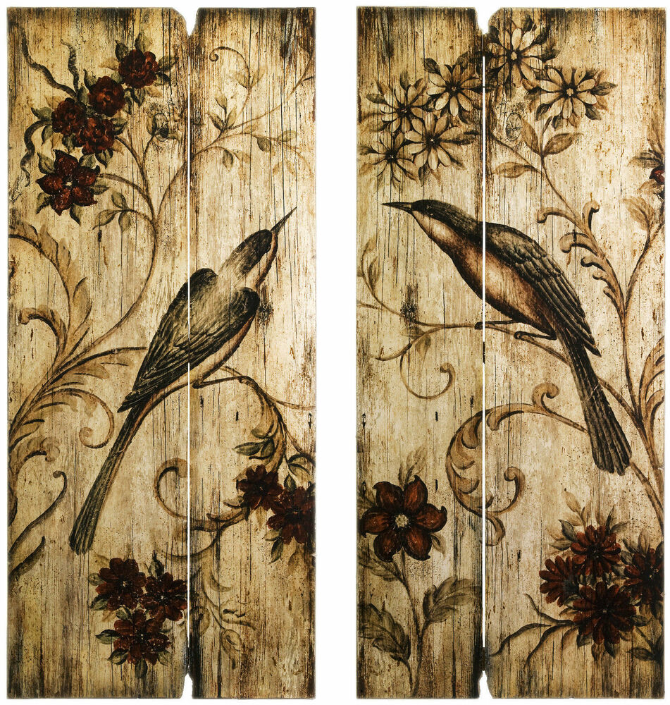 Best Rustic Country Wall Art Set Birds Flowers 2 Wood Panels 39 This Month