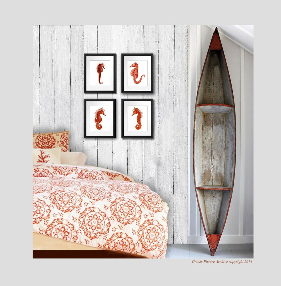 Best Wall Hanging Beach Decor Set Of 4 Red Seahorse Prints Wall This Month