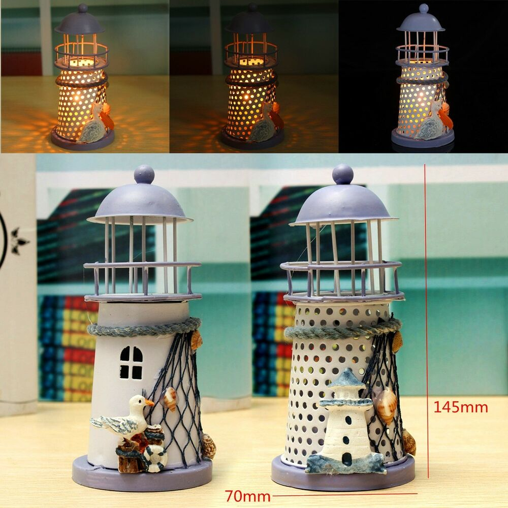 Best Mediterranean Lighthouse Iron Candle Candlestick Blue This Month