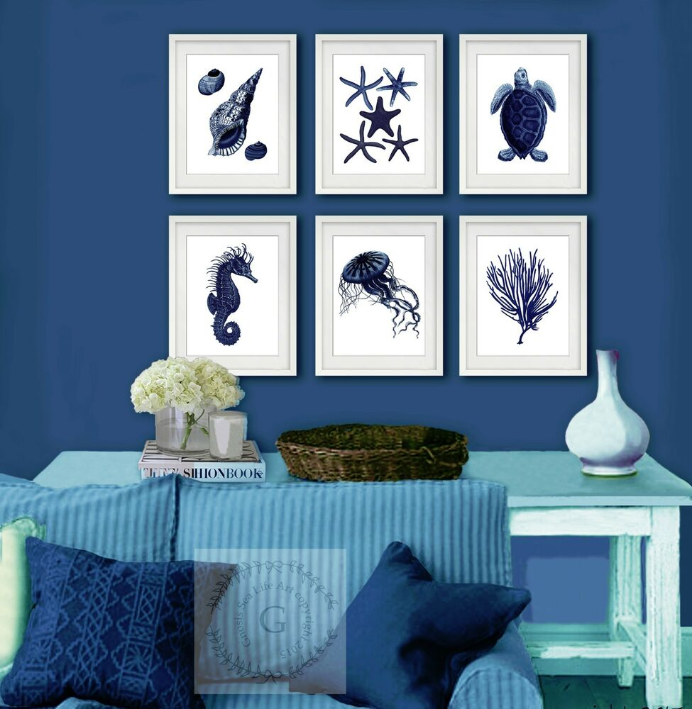 Best Navy Blue Sea Life Coastal Wall Decor Set Of 6 Beach Home This Month