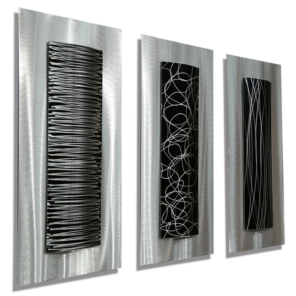 Best Modern Abstract Metal Black Silver Wall Art Home Decor This Month