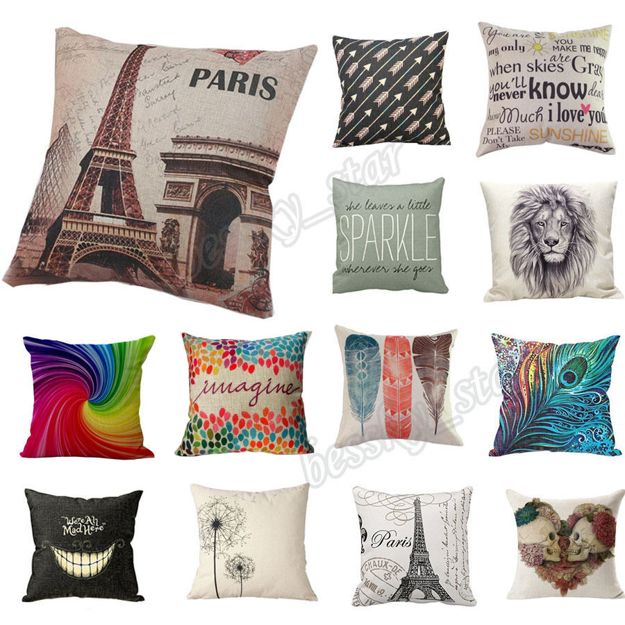 Best Home Bed Decor Cotton Linen Square Decorative Throw Pillow This Month