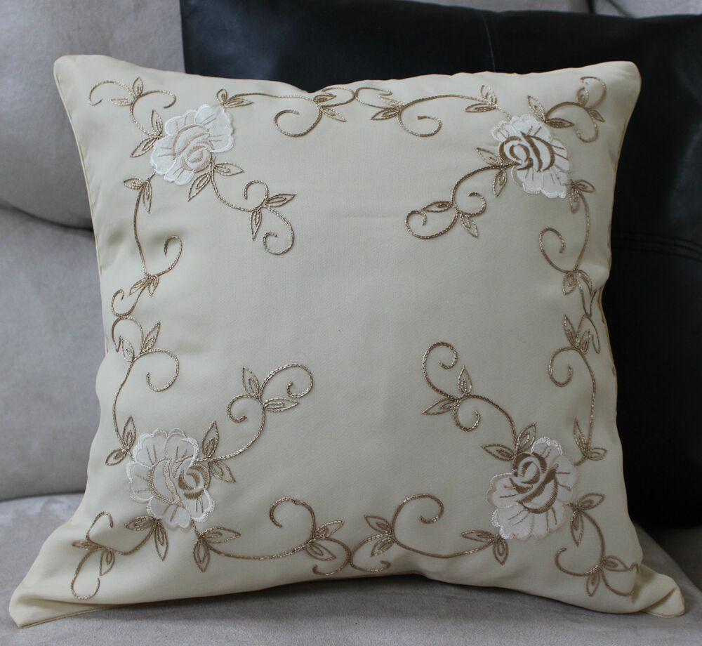 Best Rose Embroidered Pillow Cover Case Accent Decorative This Month