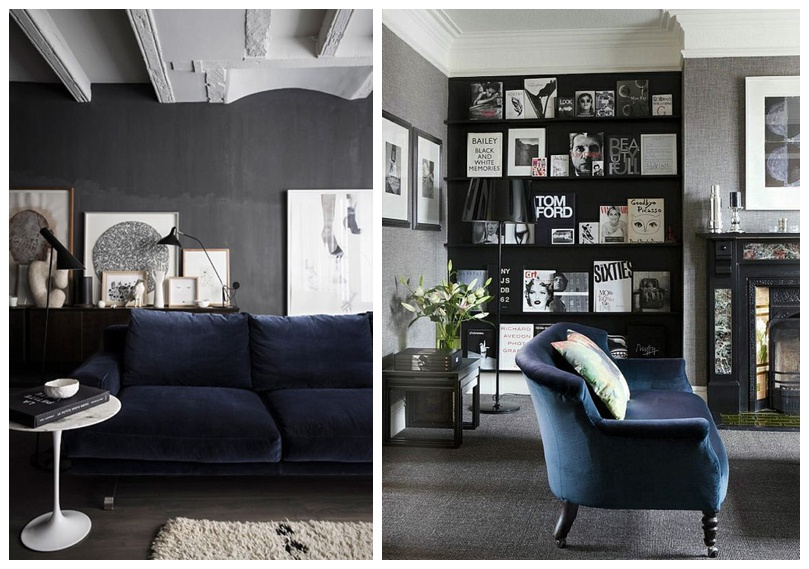 Best A Perfect Combo Velvet Sofa Dark Walls This Month
