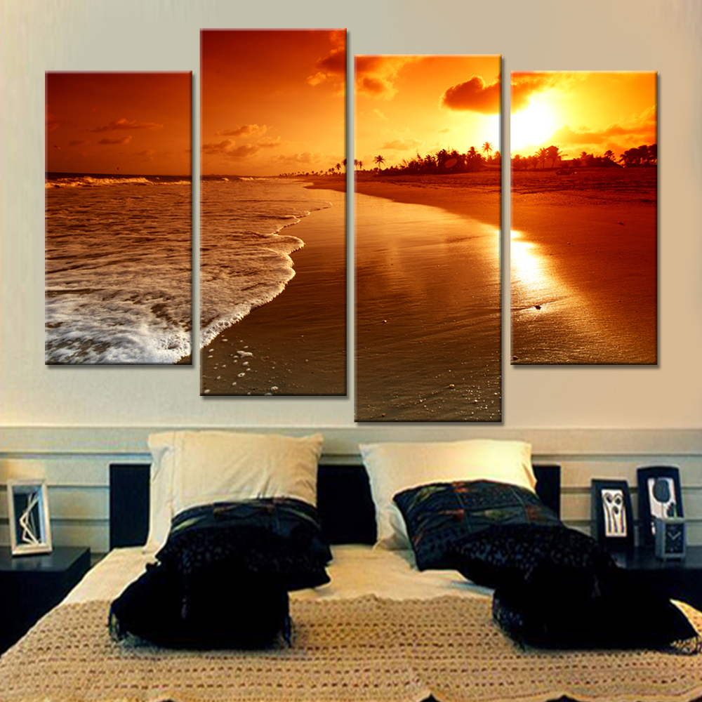 Best Drop Shipping 4 Pieces Unframed Wall Art Canvas Print This Month