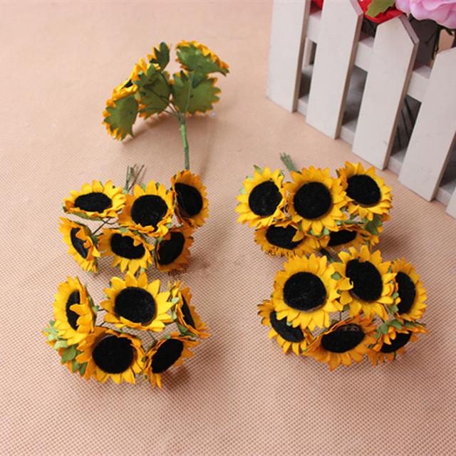 Best 3Cm Mini Artificial Sunflowers Bouquets Fake Silk This Month