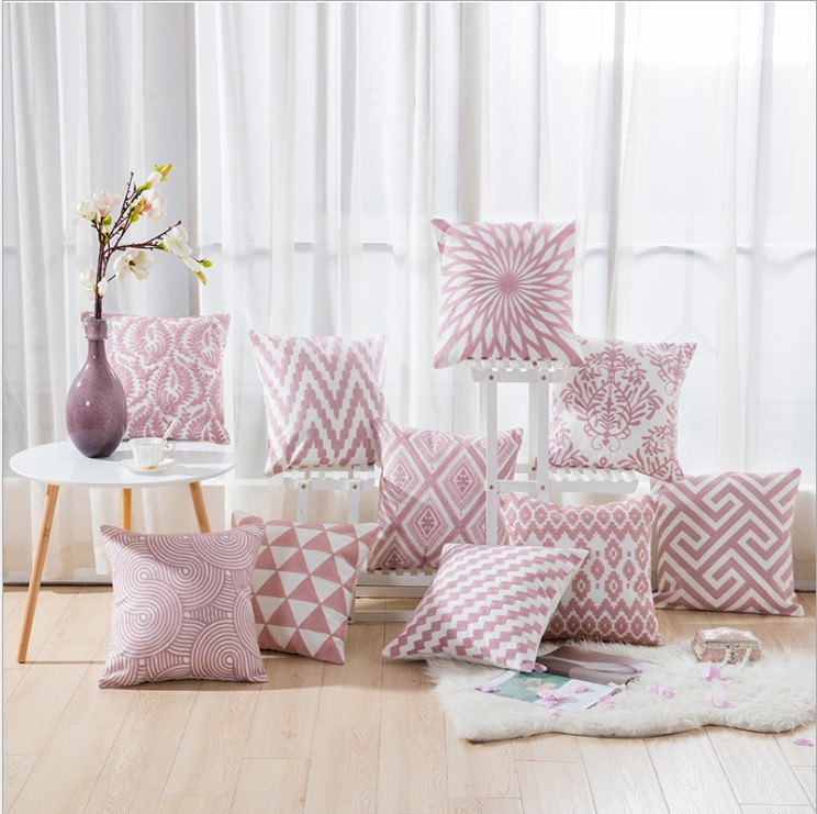Best Drop Ship Home Decor Embroidered Cushion Cover Pink This Month