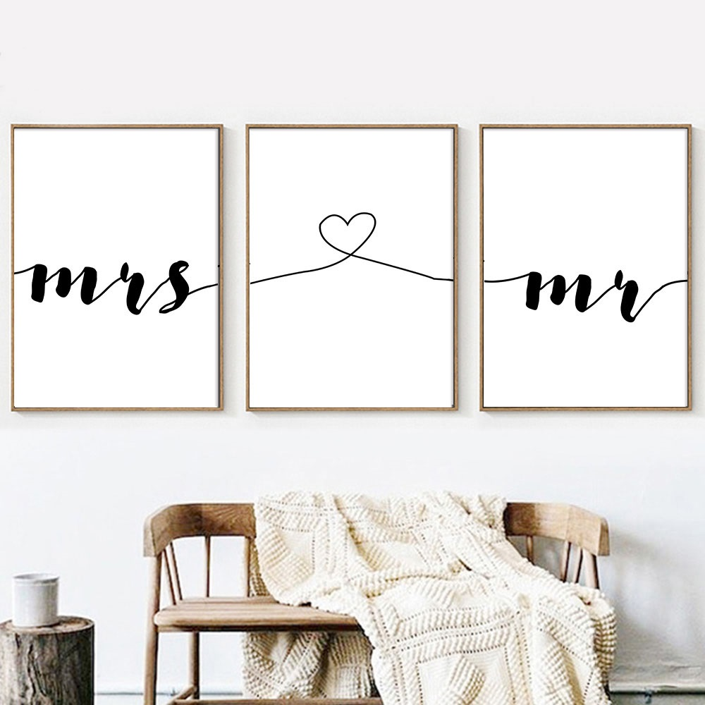 Best Mr Mrs Romantic Family Simple Quote Wall Art Canvas Poster Minimalist Print Painting Wall This Month