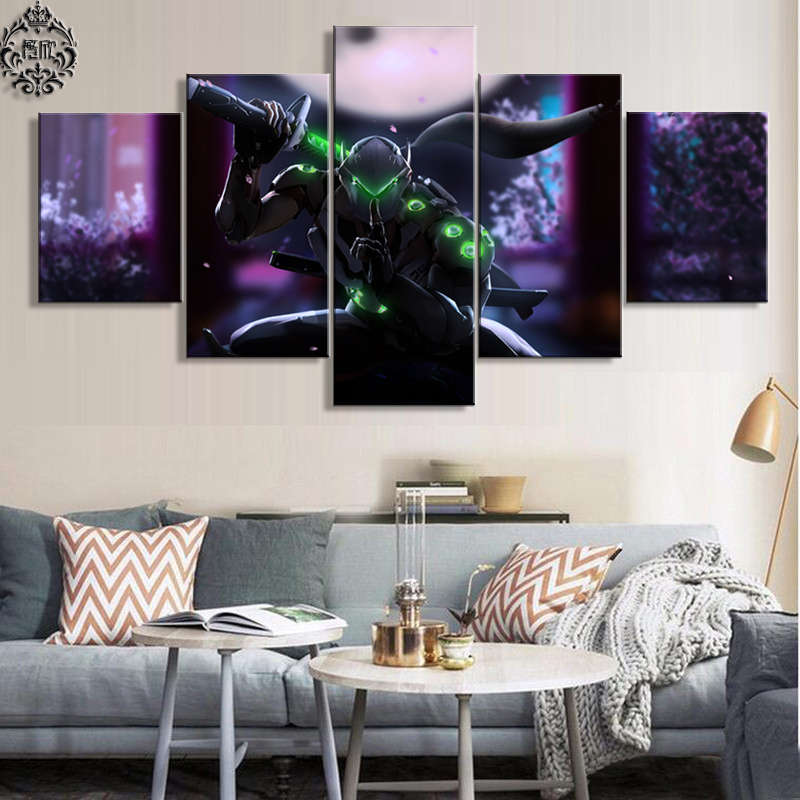Best Canvas Painting Game Poster 5 Pieces Overwatch Genji Wall This Month