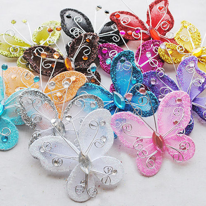 Best 10Pcs Mixed Organza Wire Rhinestone Butterfly Wedding This Month