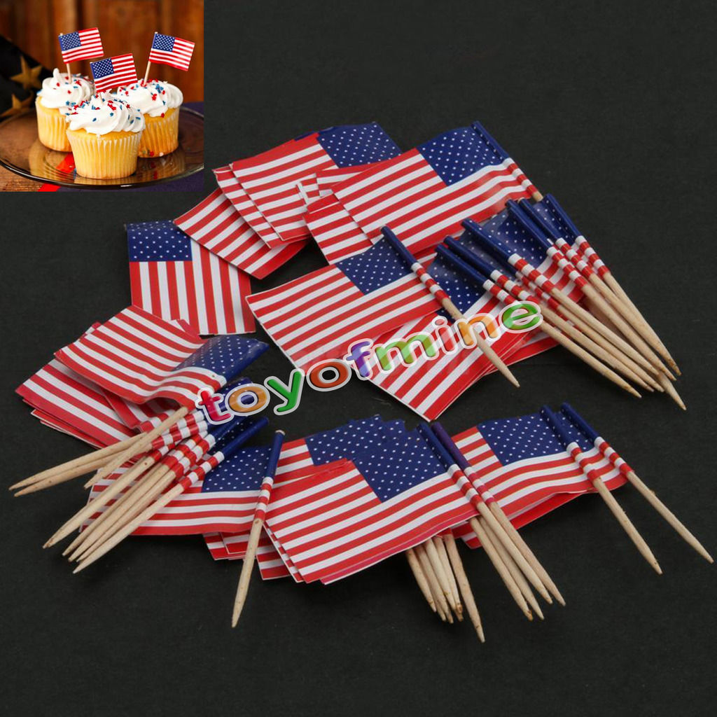 Best 50Pcs Birthday Party American Usa Flag Cupcake Topper Food This Month