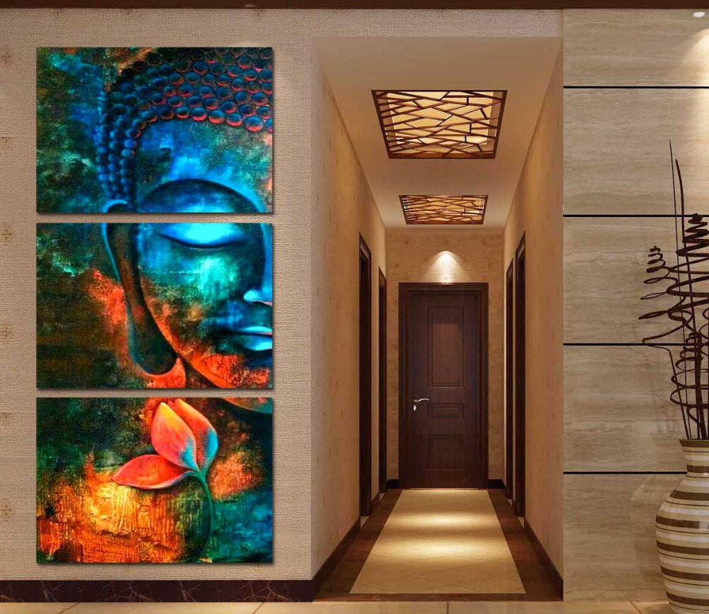 Best Framed 3Pcs Abstract Blue Buddha Modern Home Decor Canvas This Month