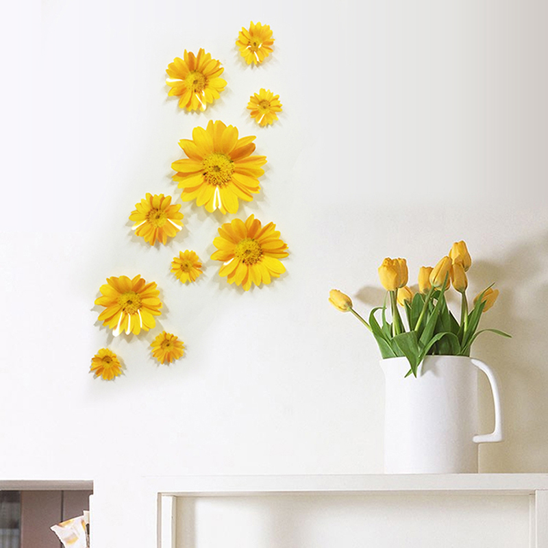 Best 1Set 3D Wall Sticker Flowers Decorative Combination Diy This Month