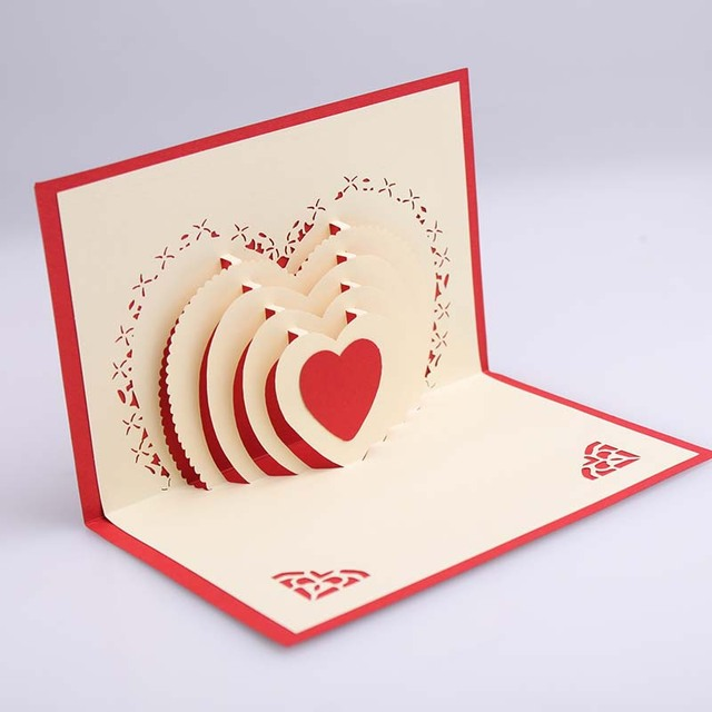 Best 3D Pop Up Heart Shape Card Postcards Greeting Card This Month