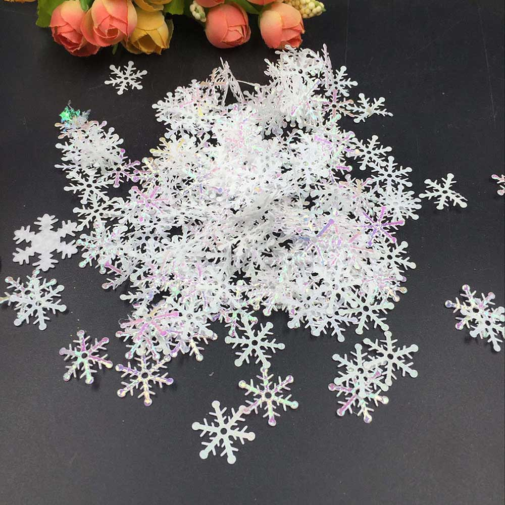 Best 300Pcs Christmas Tree Decorations Snowflakes White Plastic This Month