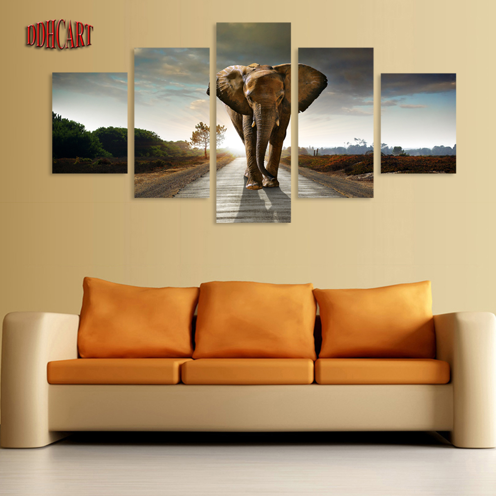 Best 5 Piece Canvas Art Wall Art Prints Painting Elephant This Month