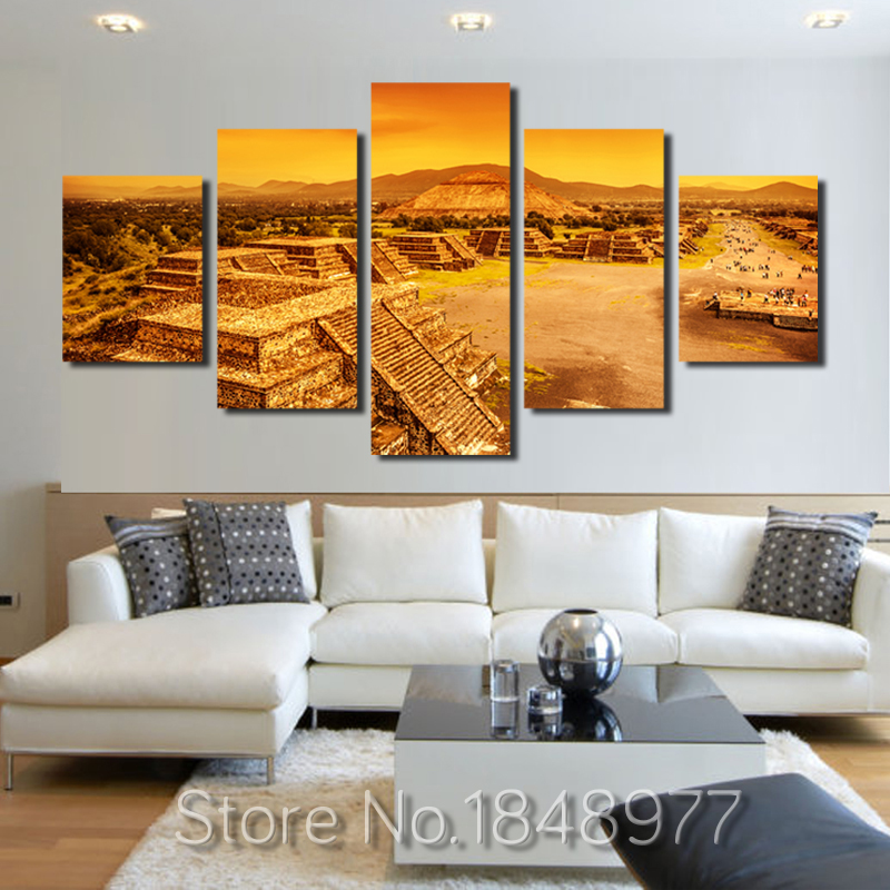 Best 5 Panel Modular Canvas Painting Maya Buliding Oil Painting This Month