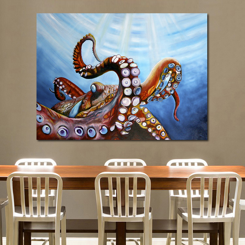 Best Jqhyart The Giant Octopus Canvas Art Oil Painting Moder This Month