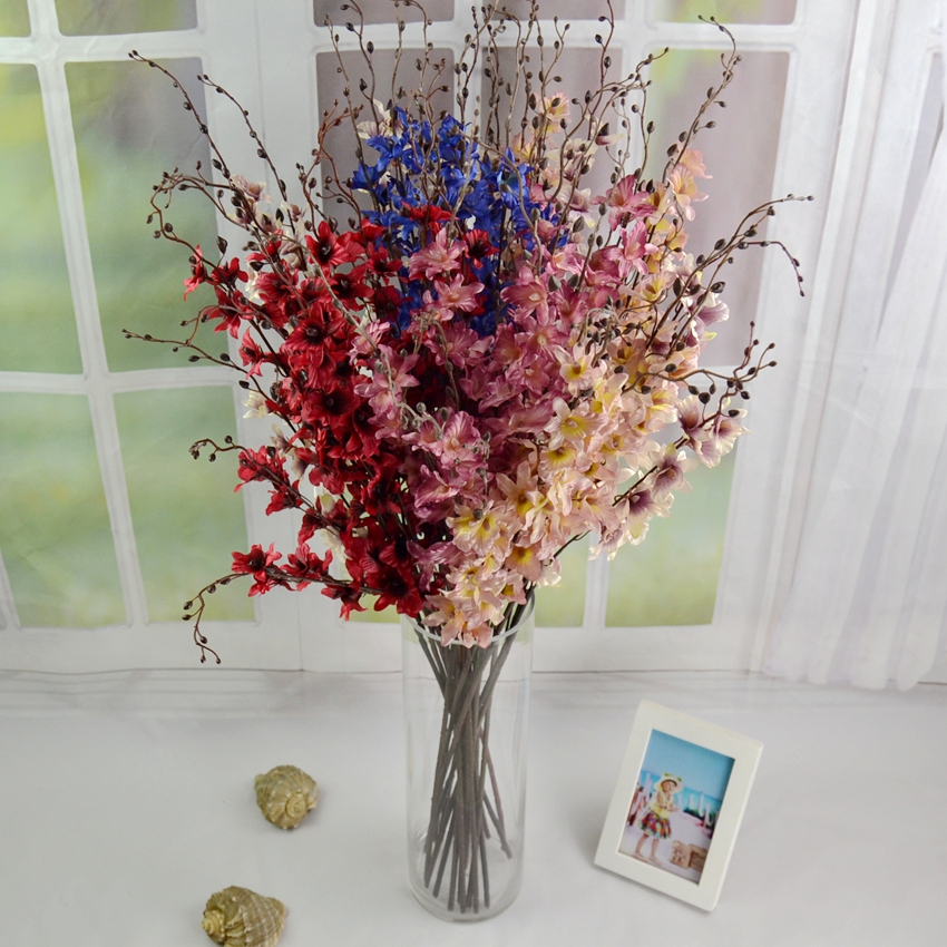 Best New High Quality 90Cm Silk Orchids Branches Red Pink Blue This Month