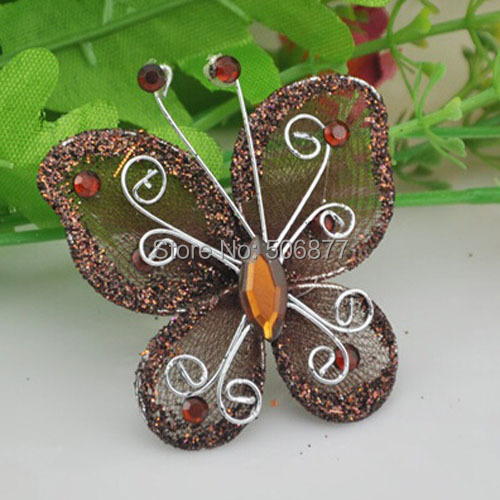 Best Hot Sale New 5Cm 50Pcs Brown Organza Wire Rhinestone This Month