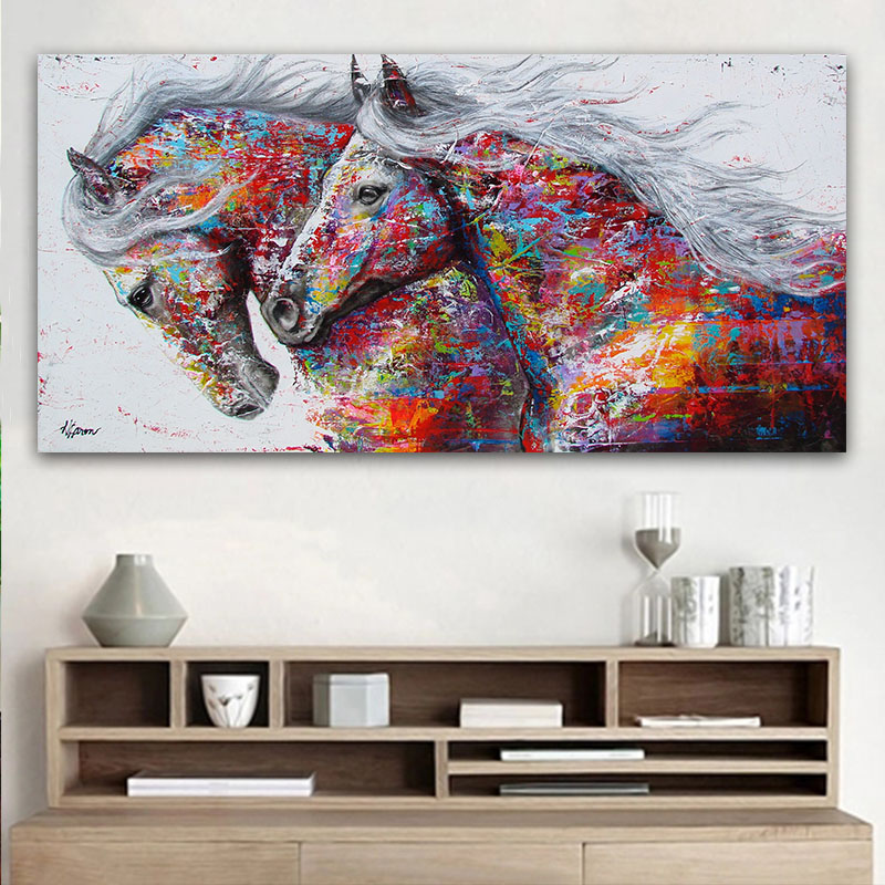 Best Goodecor The Two Running Horse Canvas Art Animal Wall Art This Month