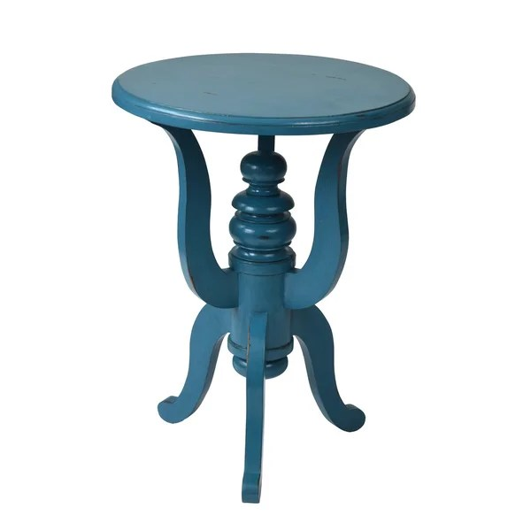 Best Shop Decorative Deadwood Blue Round Accent Table Free This Month