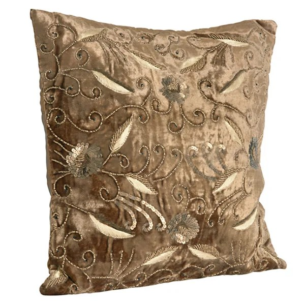 Best Shop Beaded Velvet Gold Decorative Throw Pillow Free This Month