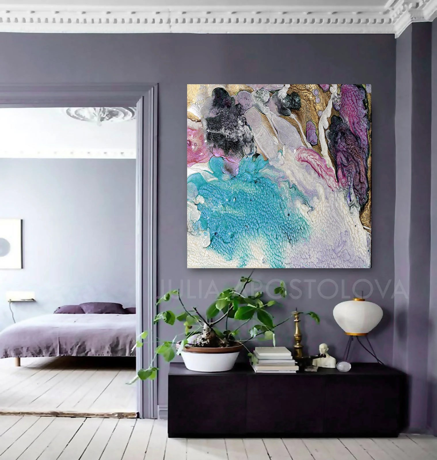 Best Turquoise Purple Gold Cell Abstract Art Canvas Print This Month