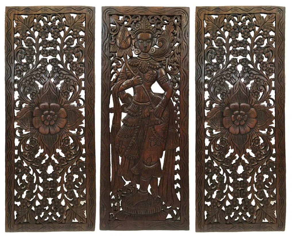 Best Multi Panels Oriental Home Decor Wood Carved Floral Wall This Month