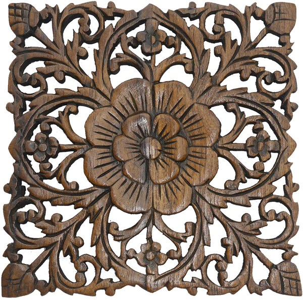 Best Wood Plaque Oriental Carved Lotus Rustic Wall Decor Hand This Month