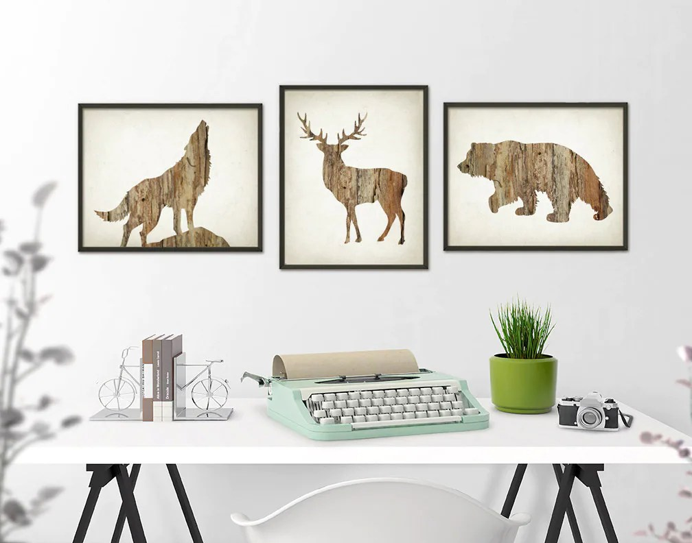 Best Deer Wolf Bear Wall Art Print Set Of 3 Wood Hunting Lodge This Month