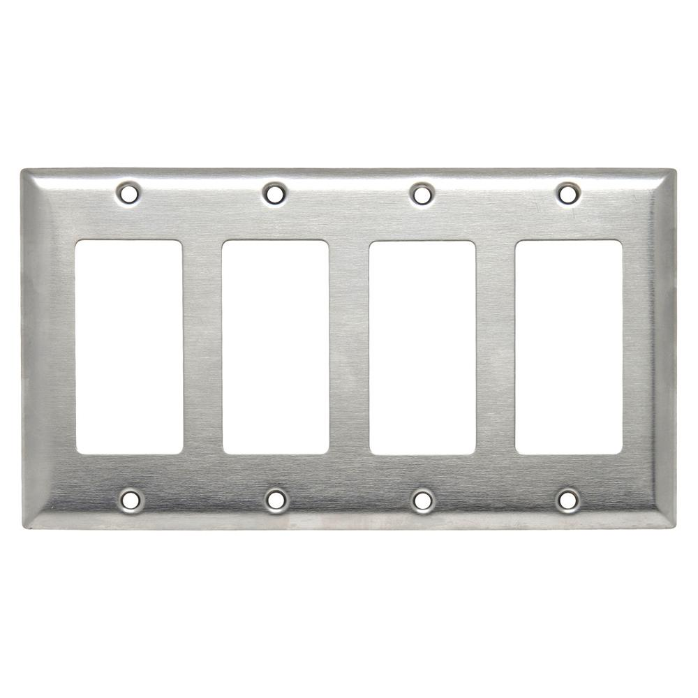 Best 302 Series 4 Gang Decorator Wall Plate In Stainless Steel This Month