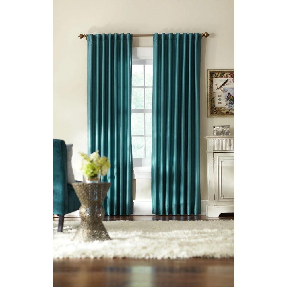Best Home Decorators Collection Semi Opaque Teal Slub Faux Silk This Month