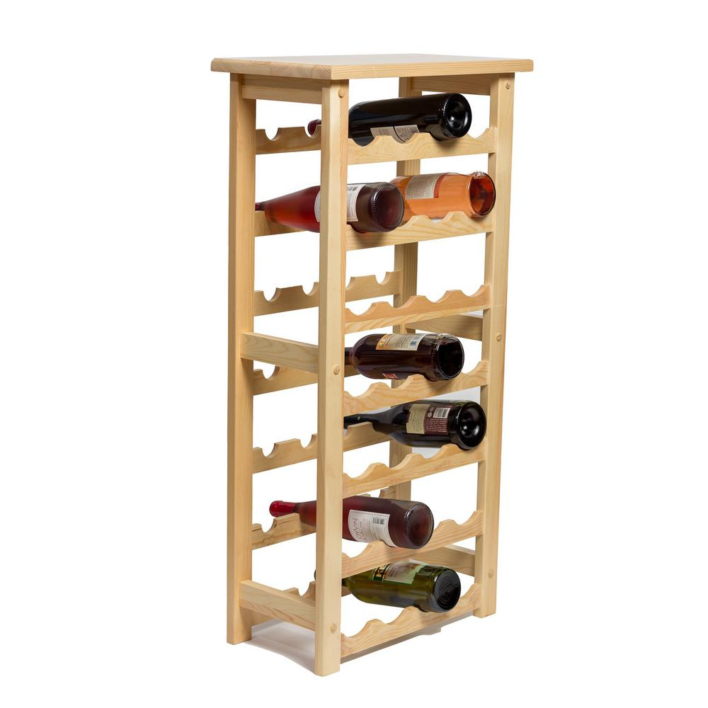 Best 212 Main 28 Bottle Decorative Natural Wood Wine Rack This Month