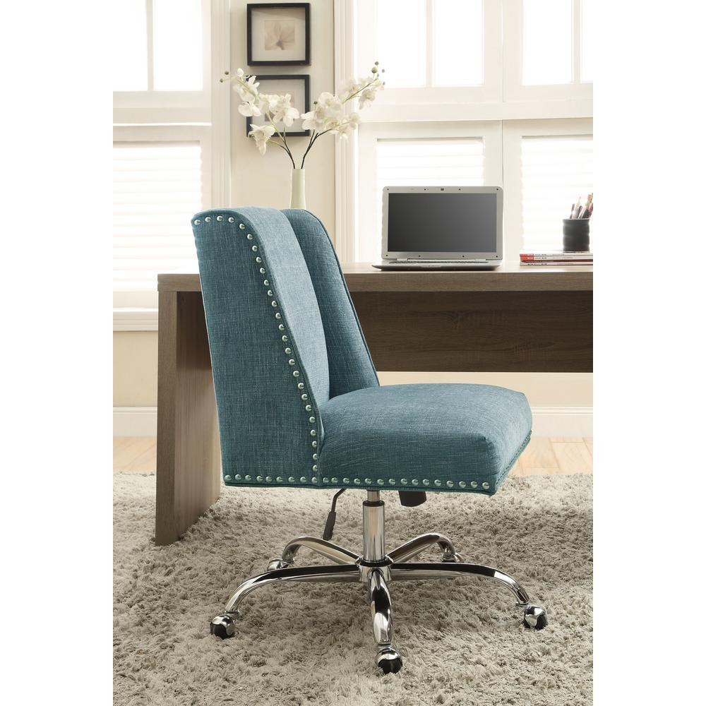 Best Linon Home Decor Draper Aqua Polyester Office Chair This Month