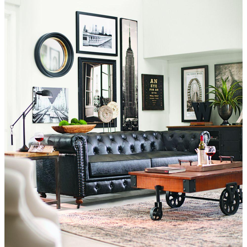 Best Home Decorators Collection Gordon Black Leather Sofa This Month