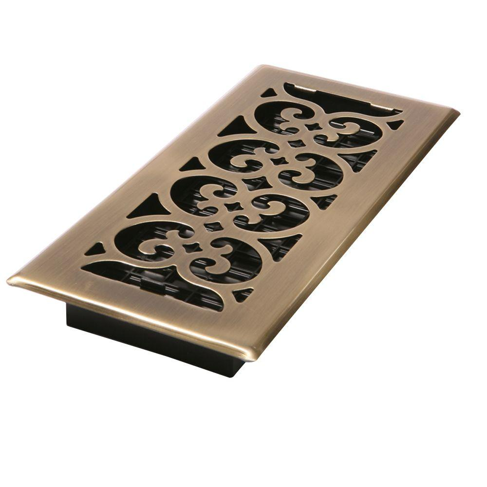 Best Decor Grates 4 In X 10 In Steel Floor Register In Antique Brass Sph410 A The Home Depot This Month