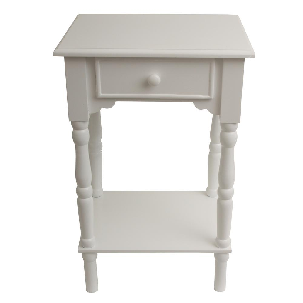 Best Decor Therapy Accent White End Table Fr1787 The Home Depot This Month