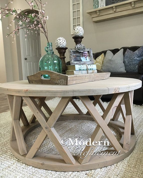 Best Gorgeous Rustic Round Farmhouse Coffee Table By This Month