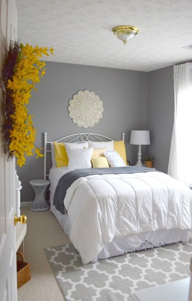 Best Guest Bedroom Gray White And Yellow Guest Bedroom This Month