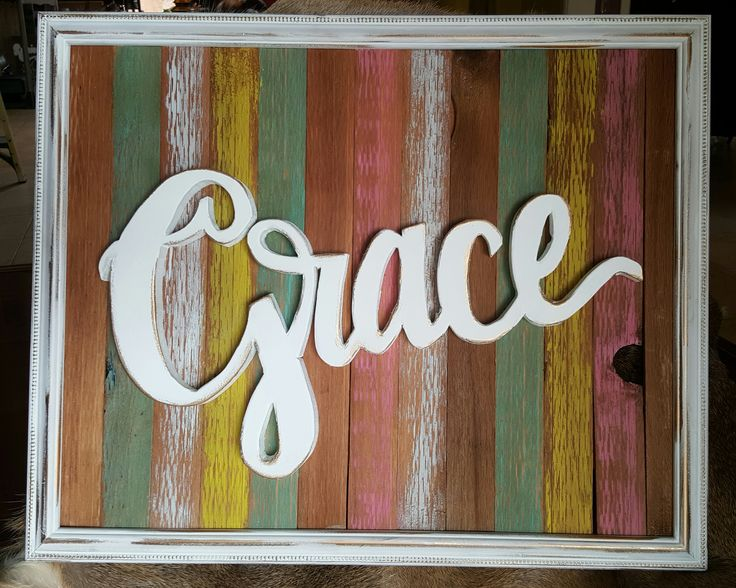 Best Framed Grace Cut Out Reclaimed Wood Cutout Words Painted This Month