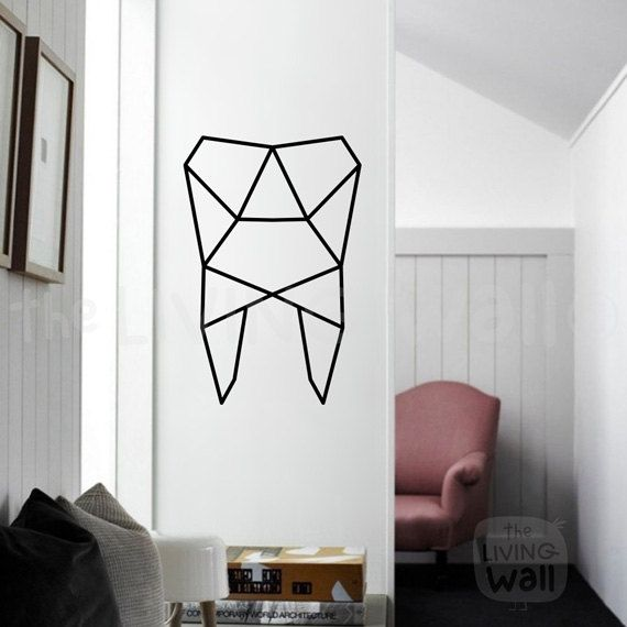 Best Geometric Tooth Wall Art Tooth Stickers Wall Decal Decor This Month
