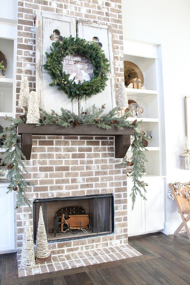 Best Farmhouse Brick Fireplace Christmas Decorating Ideas This Month