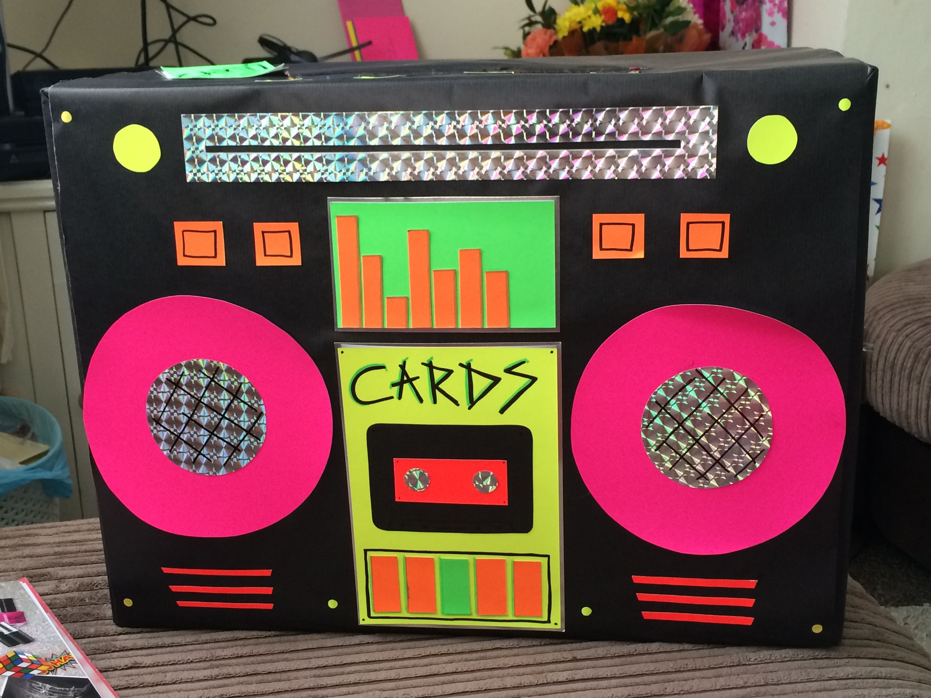 Best Handmade Retro Neon Boom Box Card Box Looked Perfect On This Month