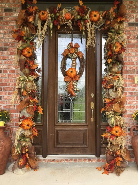 Best Fall Door Garland Fall Swag Thanksgiving Door Decor This Month
