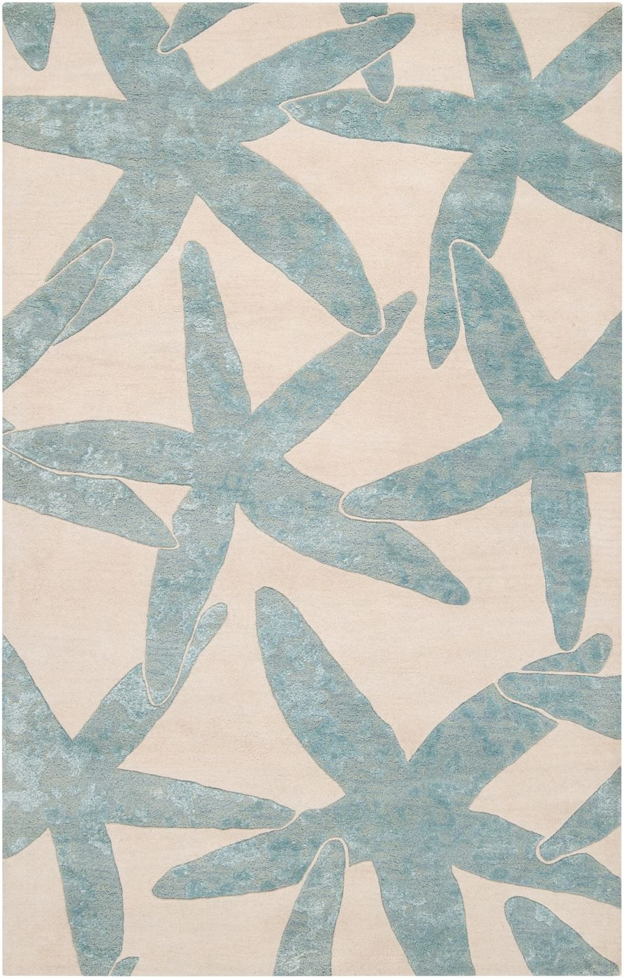 Best Escape Starfish Area Rug Foggy Blue On Ivory Beach This Month