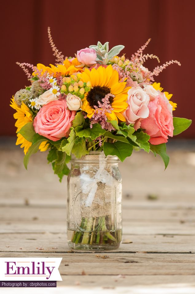 Best Sunflower And Coral Roses Bridal Bouquet Sunflower This Month
