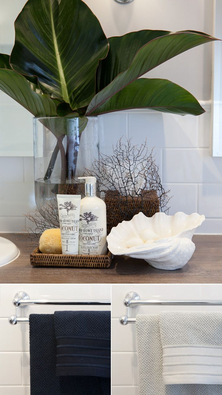 Best Tropical Beachy Bathroom Countertop Styling Staging Idea This Month