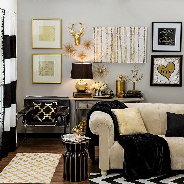 Best Bring Home Big City Style With Metallic Gold And Black Decor Home Ideas Living Room White This Month