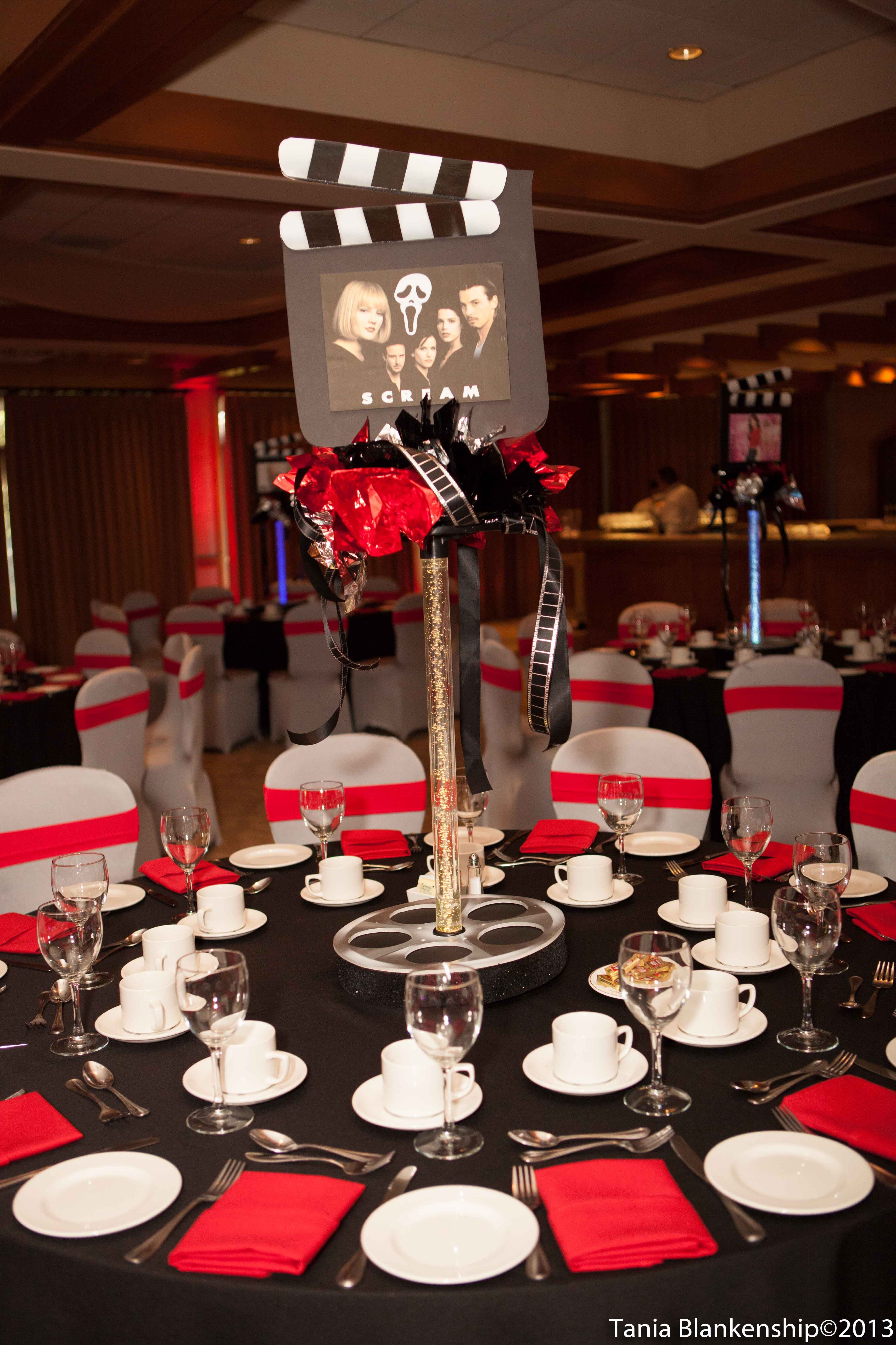 Best Movie Theme Bar Bat Mitzvah Tall Centerpiece Red And This Month